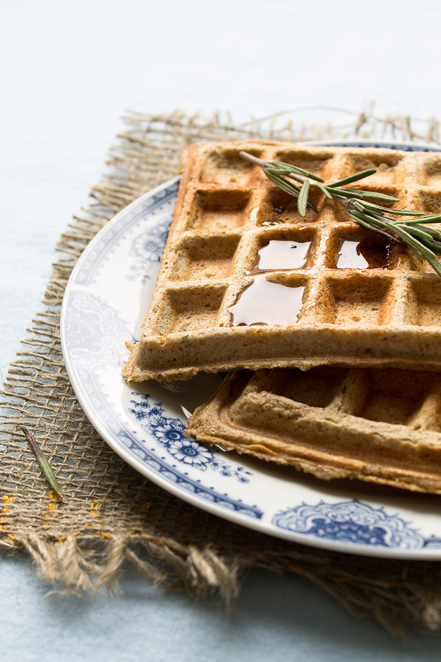Pumpkin Waffles with Fresh Rosemary