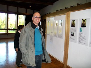 An interested visitor looking at the exposition of the Beth Myriam project to feed the poor
