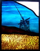 the derelict wind pump, stained glass panel