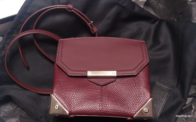 Printed Lizard Marion Bag, Oxblood