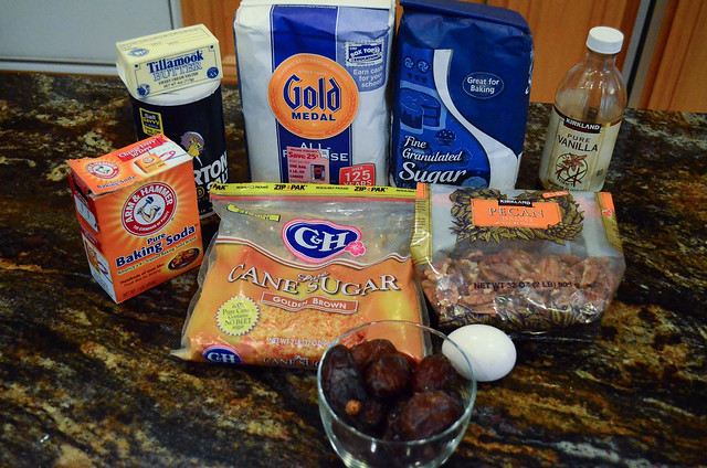 All the ingredients required to make Date Pinwheel Cookies.