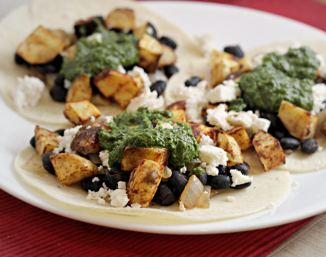 Sweet Potato And Black Bean Tacos With Swiss Chard Pesto Recipes ...