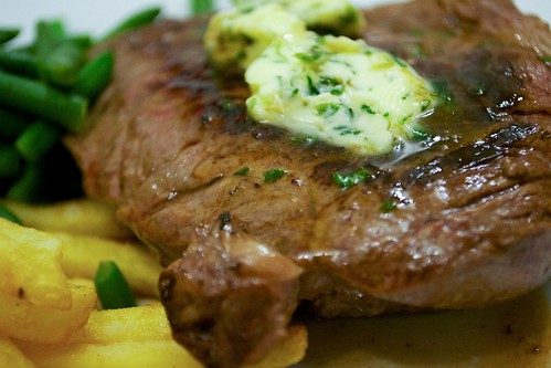 Ribeye steak with tarragon butter