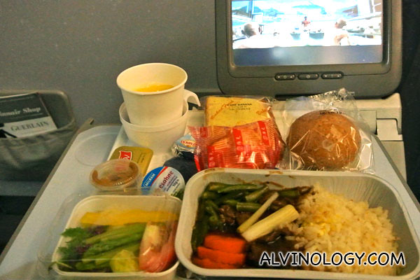 Enjoying my inflight meal while watching Thermae Romae