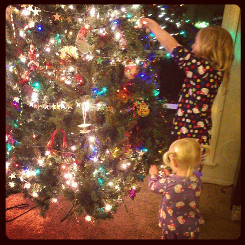 Hanging ornaments.