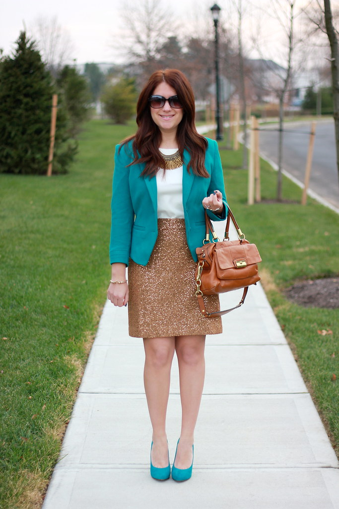 Sequins and Teal Holiday Outfit