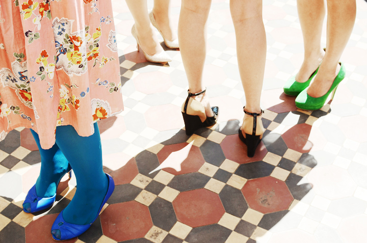 colourful shoes tiles