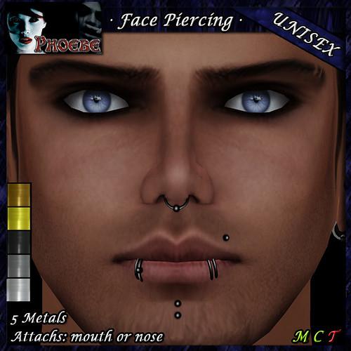 $55l ~ *P* Unisex Face Piercing ~ Serie P2 ~ 5 Metals