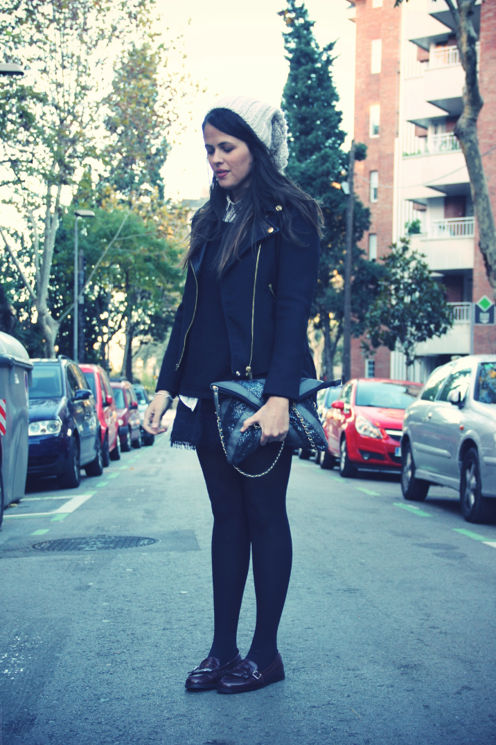 Look black + camisa buhos + loafers