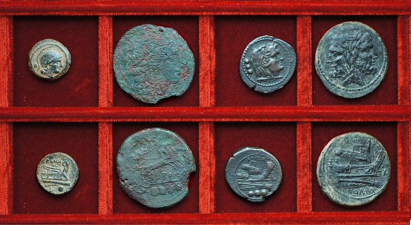 RRC 097 L Luceria bronzes (4) Ahala collection, coins of the Roman Republic