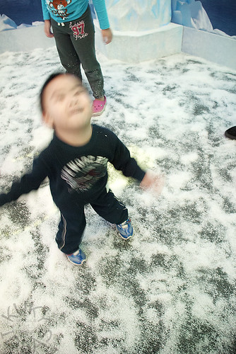 "Twirling around and around in the ""snow"""