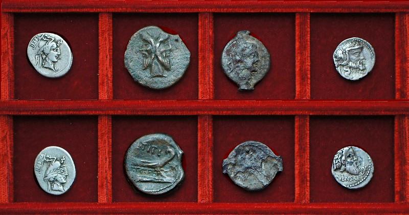 RRC 341 Q.TITI Titia bronzes, denarius flipover strike, RRC 342 C.VIBIVS CF PANSA Vibia denarius, Ahala collection, coins of the Roman Republic