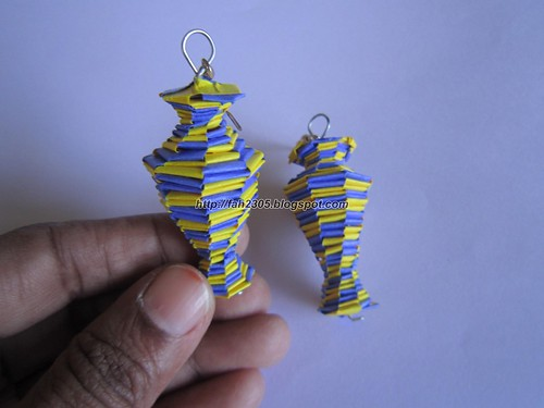 Handmade Jewelry - Paper Lanyard Vase Earrings (6) by fah2305