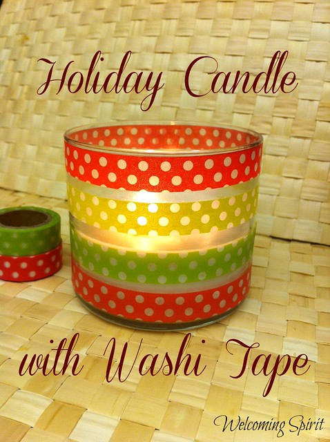 Holiday candle with Washi Tape