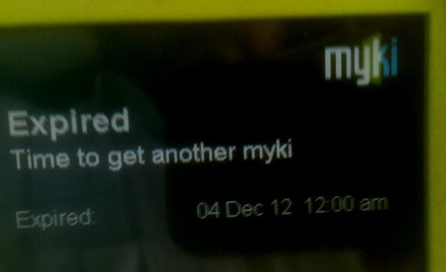 Myki card expired error
