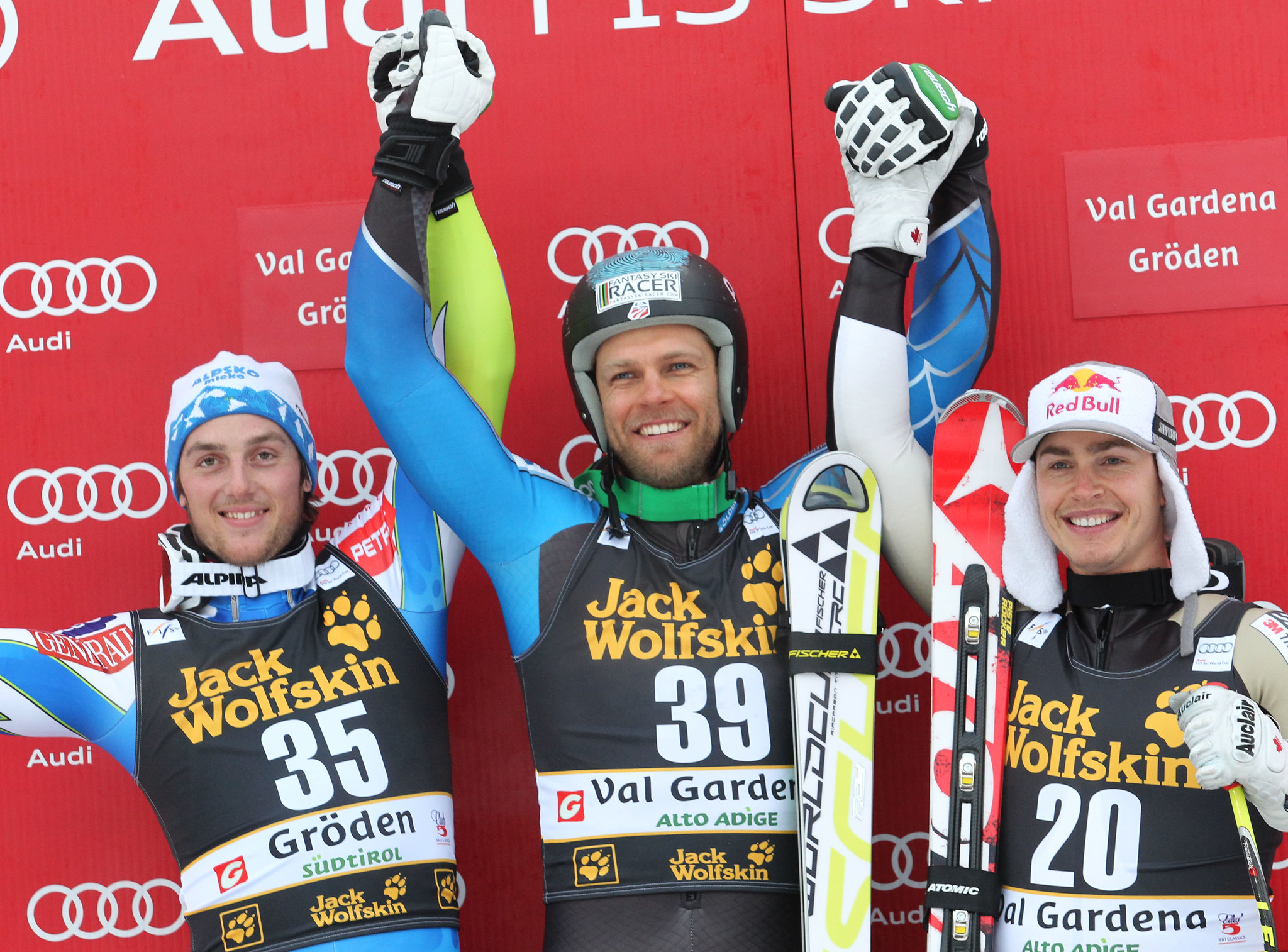 Erik Guay steps on the World Cup podium for the 18th time in his career.