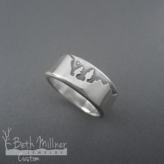 Custom Sterling Silver Yosemite Valley Tree Couple Wedding Ring