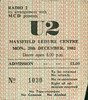 19821220-U2-Maysfield Leisure Centre-Belfast-Northern Ireland-20-Dec-1982-ticket-DC Cardwell by DC Cardwell