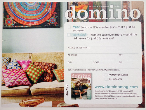Domino Magazine subscription card
