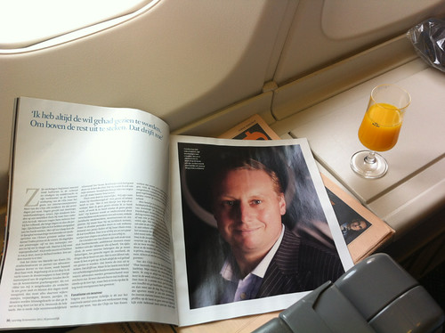 Reading about myself in a magazine on board a KLM flight to Amsterdam
