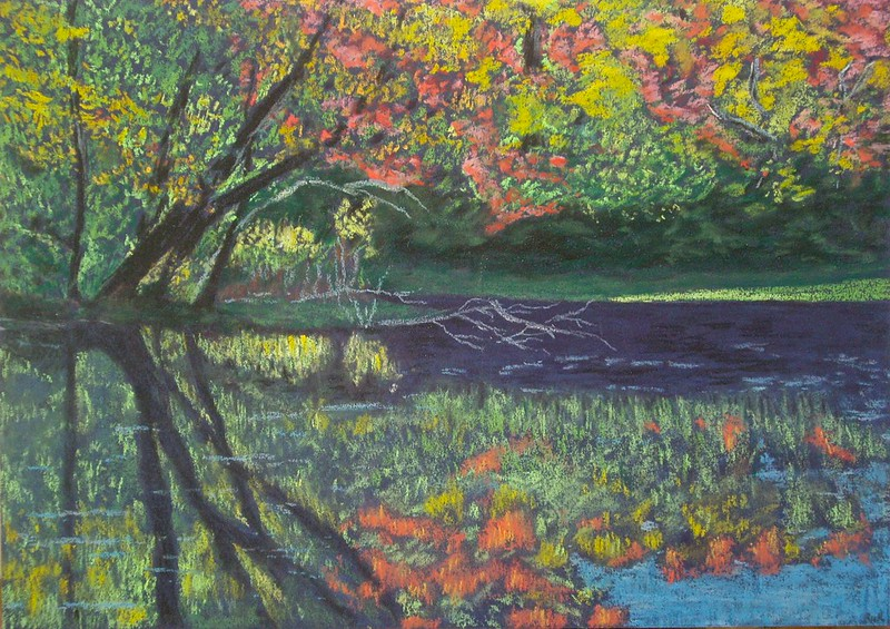 Pastel painting trees and water