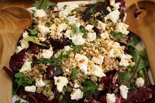 Pearled spelt, roast beetroot salad