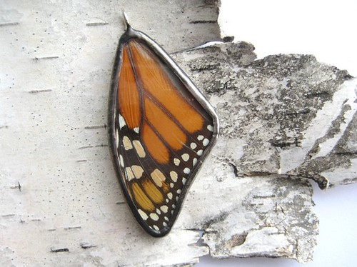 Monarch Butterfly Glass Pendant by PopkoShop