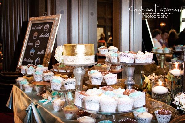 gold-leaf-cake-wedding-cupcakes-metallic-turquoise-table