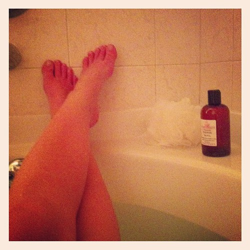I take a hot bath before bed most fall/winter nights.  Quiet, peaceful, warm... Just 10 or 15 minutes all my own.