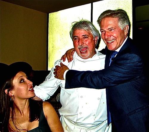 Piero embraces Chef Celestino Drago