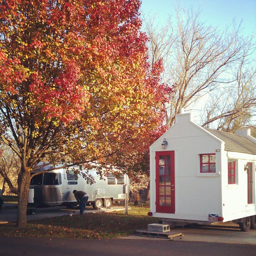 Parked next to a tiny house. #airstream #tinyhouse