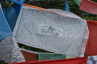 Buddhism poems on colourish flags