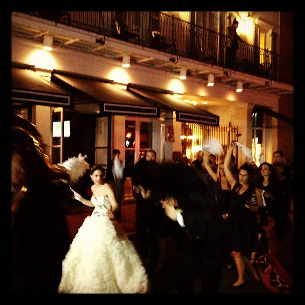 Wedding party (literally) on Bourbon Street, New Orleans