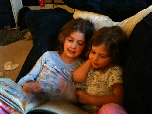 Bella and Sophie reading
