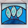 3 frosty winter trees_blue_landscape_trees_stained glass panel
