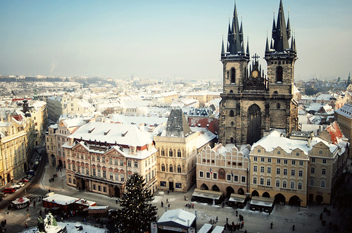 christmas city morning travel winter holiday cold building tower buildings landscape nikon europe december cityscape view prague towers freezing sunny clear czechrepublic 2035mm d80 astronomicalclocktower ewitsoe
