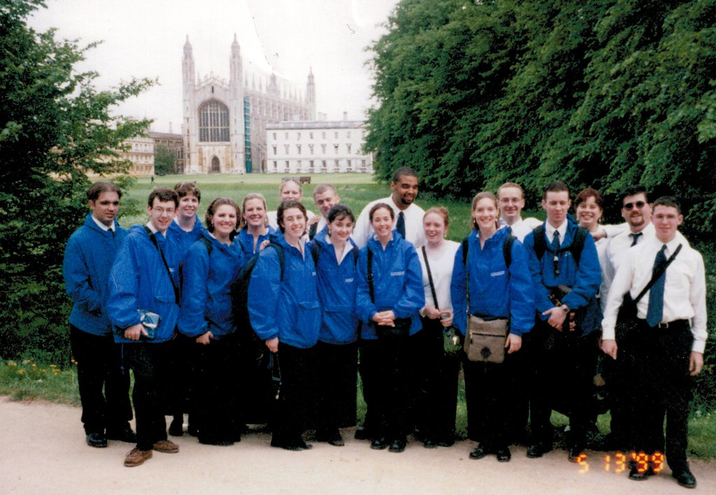 On my first ACFEA tour, as a singer with the Duquesne University Chamber Singers in 1999, in Cambrigde, England