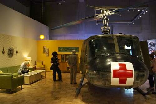Frighteningly perfect metaphor... a med-evac Huey in the livingroom