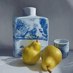 Sarah Van der Helm - Pears with Sake Jar; Oil on panel; 2011