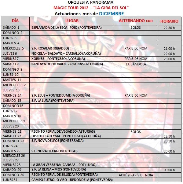 Orquesta Panorama Calendario.Orquestas Y Fiestas Orquesta Panorama Fechas De Diciembre 2012