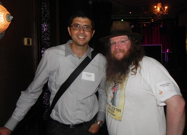 Neerav Bhatt (left) and Matthew Powell (right) - 2012 Australian Technology Media Christmas party