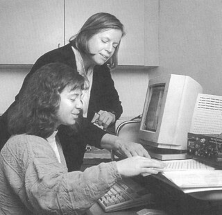 """Professor Deborah Burke and Erika Hulme '96 worked together in the summer of 1995 on the research project """"Cognitive Correlates on Verbosity"""""""