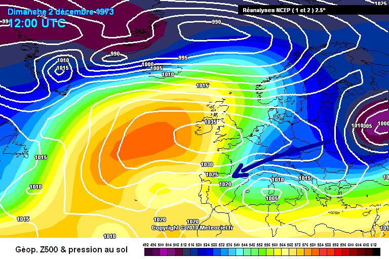carte de situation du coup de froid de début décembre 1973 météopassion