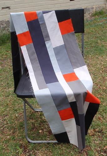 QUILT TOP - grey strips, in progress