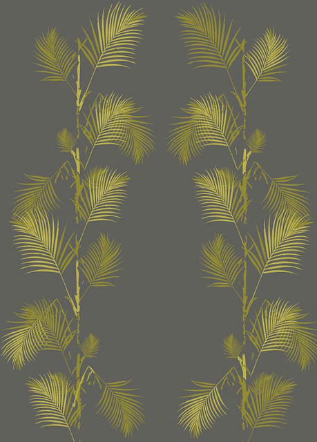 Palm Print Wallpaper In Grey And Gold Flickr Photo