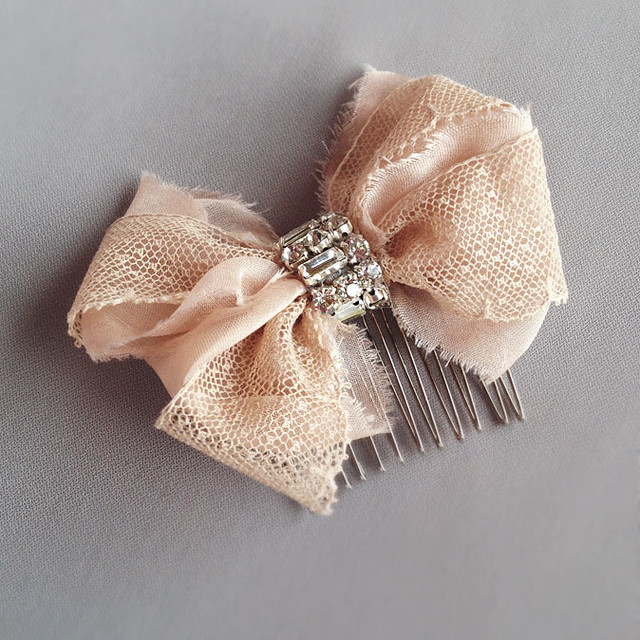 emici bridal blush lace bow comb