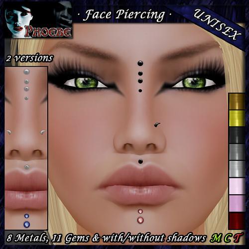 [$70L PROMO] *P* Unisex Face Piercing Q5 ~8 Metals-11 Gems~