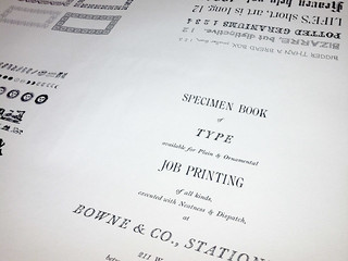 Press sheet of the 1983 Bowne & Co., Stationers type specimen book designed by Barbara Henry