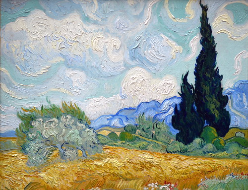 Cypress Tree with Flowers, Van Gogh (1889) by coolcanadagoose