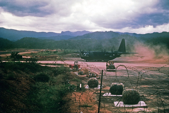 Kham Duc, C-130 departing after fuel resupply